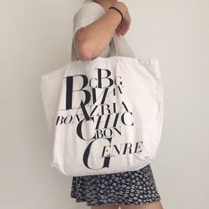 BCBG MAX AZRIA CHIC BON CENRE cream tote bag